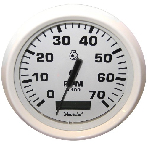 Faria Dress White 4- Tachometer w-Hourmeter - 7-000 RPM -Gas - Outboard-