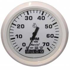 Faria Dress White 4- Tachometer w-Systemcheck Indicator - 7000 RPM -Gas- -Johnson - Evinrude Outboard-