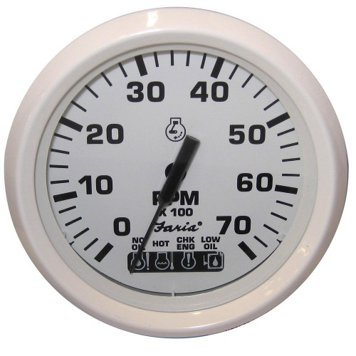Faria Dress White 4- Tachometer w-Systemcheck Indicator - 7-000 RPM -Gas - Johnson - Evinrude Outboard-