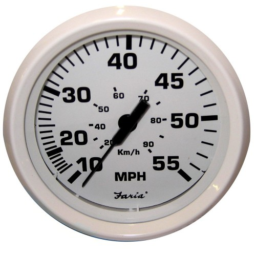 Faria Dress White 4- Speedometer - 55MPH -Mechanical-