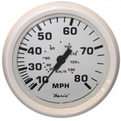 Faria Dress White 4- Speedometer - 80MPH -Pitot-
