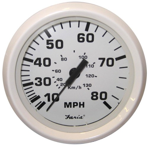 Faria Dress White 4- Speedometer - 80MPH -Mechanical-