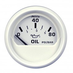 Faria Dress White 2- Oil Pressure Gauge -80 PSI-