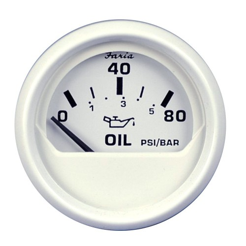Faria Dress White 2- Oil Pressure Gauge - 80 PSI
