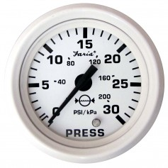 Faria Dress White 2- Water Pressure Gauge -30 PSI-