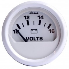 Faria Dress White 2- Voltmeter -10-16 VDC-