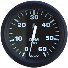 Faria Euro Black 4- Tachometer - 6-000 RPM -Gas - Inboard - I-O-
