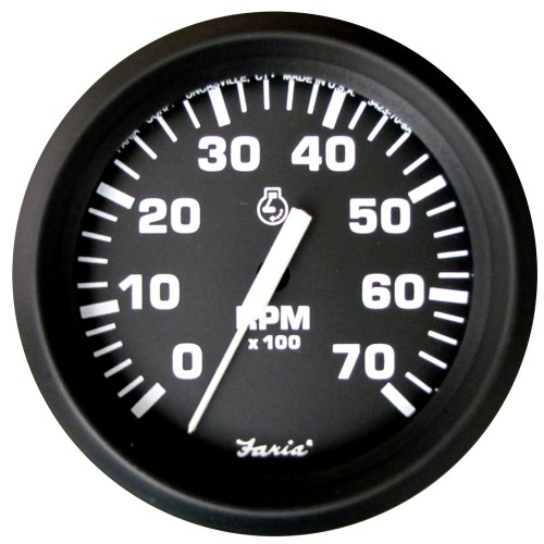 Faria Euro Black 4- Tachometer - 7-000 RPM -Gas - All Outboard-