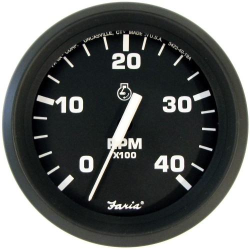 Faria Euro Black 4- Tachometer - 4-000 RPM -Diesel - Mechanical Takeoff - Var Ratio Alt-