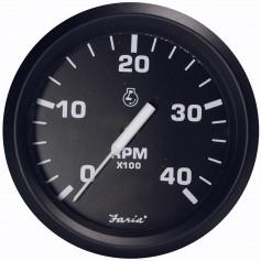 Faria Euro Black 4- Tachometer - 4000 RPM -Diesel - Magnetic Pick-Up-