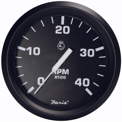 Faria Euro Black 4- Tachometer - 4-000 RPM -Diesel - Magnetic Pick-Up-
