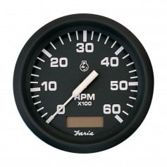 Faria Euro Black 4- Tachometer w-Hourmeter - 6-000 RPM -Gas - Inboard-
