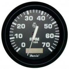 Faria Euro Black 4- Tachometer w-Hourmeter - 7-000 RPM -Gas - Outboard-