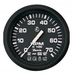 Faria Euro Black 4- Tachometer w-Systemcheck 7000 RPM -Gas- f- Johnson - Evinrude Outboard-