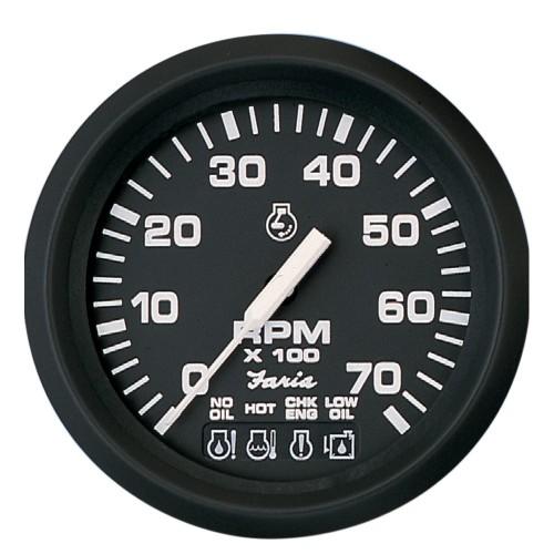 Faria Euro Black 4- Tachometer w-Systemcheck Indicator - 7-000 RPM -Gas - Johnson - Evinrude Outboard-