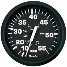 Faria Euro Black 4- Speedometer - 55MPH -Pitot-