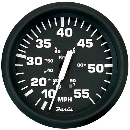 Faria Euro Black 4- Speedometer - 55MPH -Mechanical-