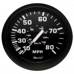 Faria Euro Black 4- Speedometer - 80MPH -Pitot-