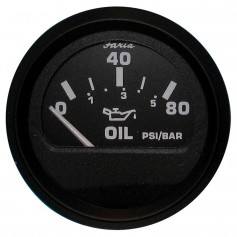 Faria Euro Black 2- Oil Pressure Gauge - 80 PSI