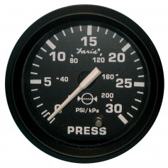 Faria Euro Black 2- Water Pressure Gauge - 30 PSI
