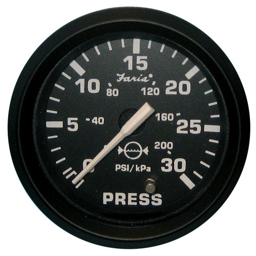 Faria Euro Black 2- Water Pressure Gauge Kit - 30 PSI