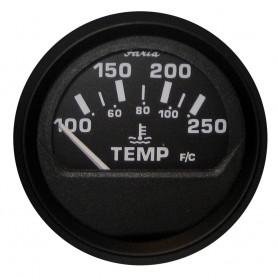 Faria Euro Black 2- Water Temperature Gauge -100-250 DegreeF-