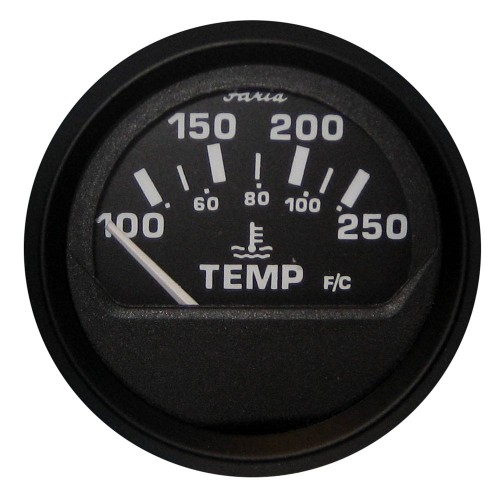 Faria Euro Black 2- Water Temperature Gauge -100-250 DegreeF-