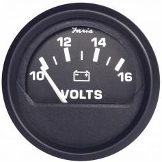 Faria Euro Black 2- Voltmeter -10-16 VDC-