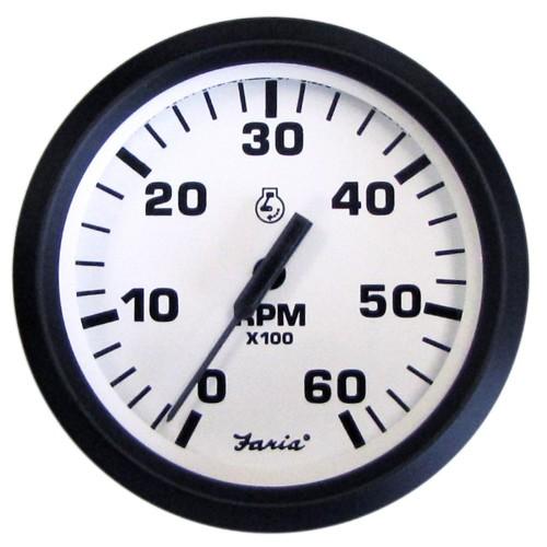 Faria Euro White 4- Tachometer - 6-000 RPM -Gas - Inboard - I-O-