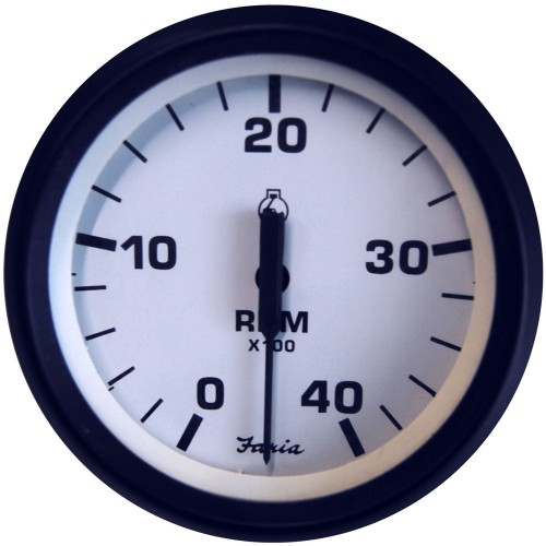 Faria Euro White 4- Tachometer - 4-000 RPM -Diesel - Mechanical Takeoff - Var Ratio Alt-