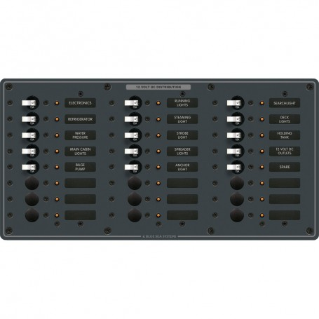 Blue Sea 8264 Traditional Metal DC Panel - 24 Positions
