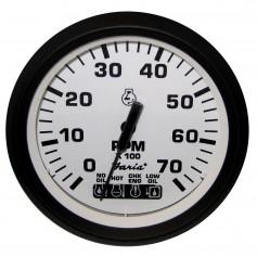 Faria Euro White 4- Tachometer w-Systemcheck Indicator - 7-000 RPM -Gas - Johnson - Evinrude Outboard-