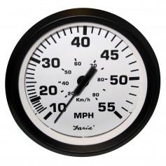Faria Euro White 4- Speedometer - 55MPH -Mechanical-