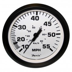 Faria Euro White 4- Speedometer - 55MPH -Pitot-