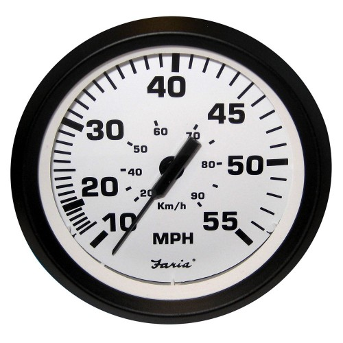 Faria Euro White 4- Speedometer - 55MPH -Mechanical-