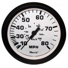 Faria Euro White 4- Speedometer - 80MPH -Pitot-