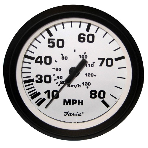 Faria 4- Speedometer - 80MPH -Mechanical- - Euro White