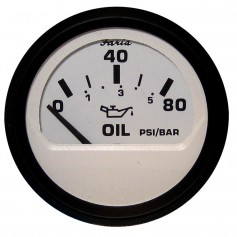 Faria Euro White 2- Oil Pressure Gauge - 80PSI