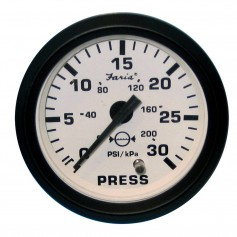 Faria Euro White 2- Water Pressure Gauge -30 PSI-