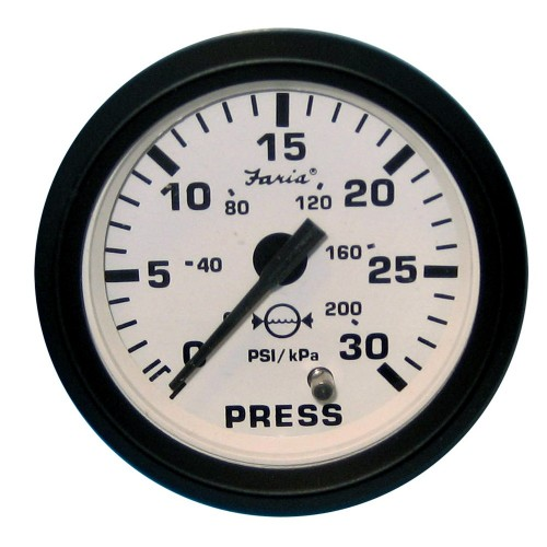 Faria Euro White 2- Water Pressure Gauge Kit - 30 PSI