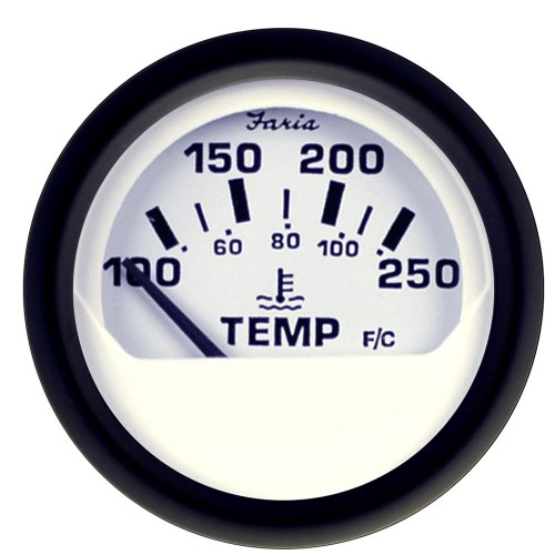 Faria Euro White 2- Water Temperature Gauge -100-250 DegreeF-