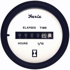 Faria Euro White 2- Hourmeter -10-000 Hrs- -12-32 VDC-