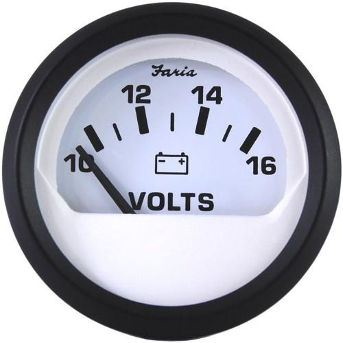 Faria Euro White 2- Voltmeter -10-16 VDC-