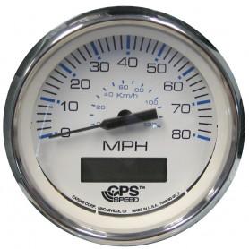 ---Faria Chesapeake White SS 4- Speedometer w-LCD Heading Display - 80MPH -GPS-