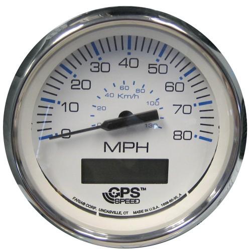 Faria Chesapeake White SS 4- Speedometer - 80MPH -GPS-
