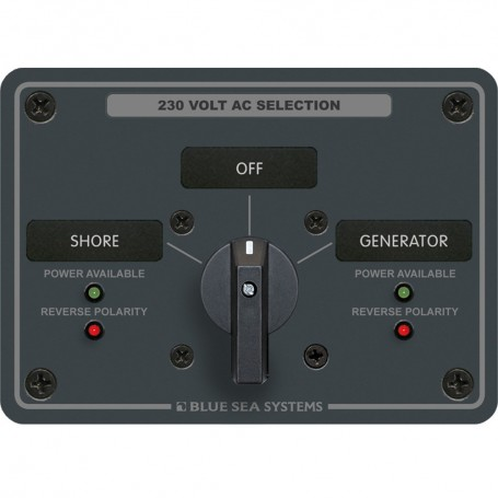 Blue Sea 8359 AC Rotary Switch Panel 30 Ampere 2 Positions - OFF- 2 Pole