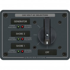 Blue Sea 8361 AC Rotary Switch Panel 65 Ampere 3 Positions - OFF- 3 Pole