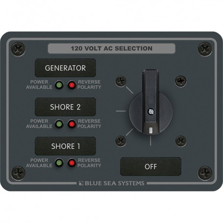 Blue Sea 8366 AC Rotary Switch Panel 30 Ampere 3 Positions - OFF- 2 Pole