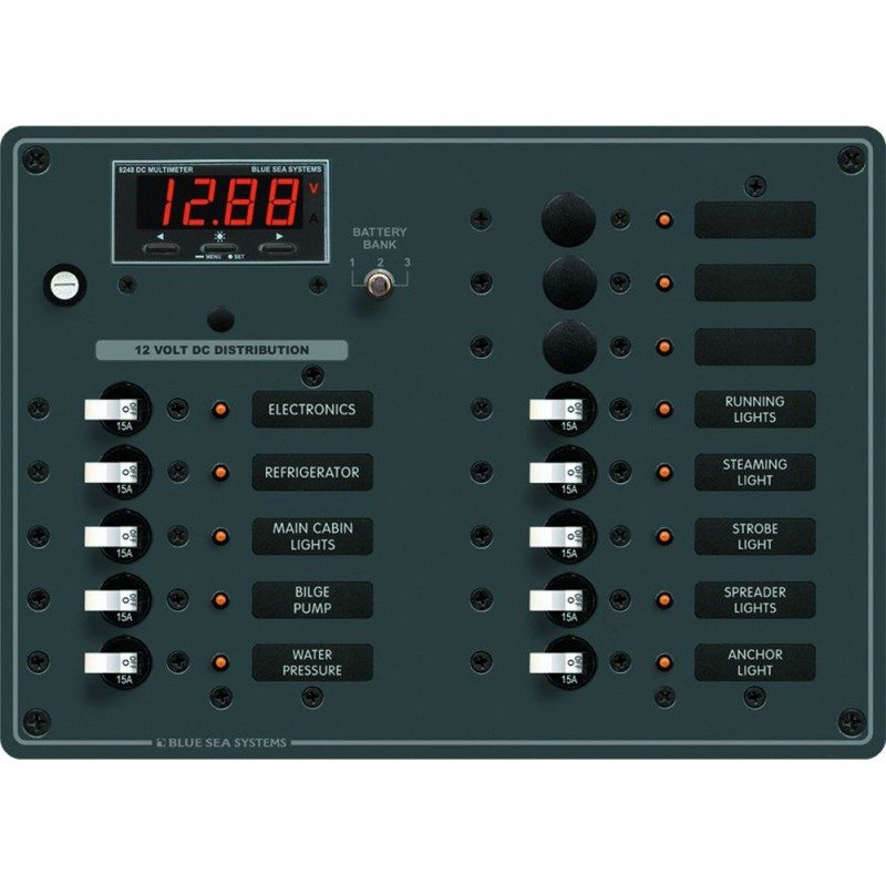 Blue Sea 8403 DC Panel 13 Position w- Multimeter