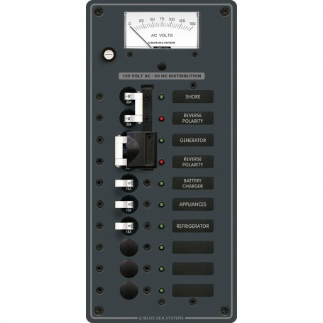 Blue Sea 8489 Breaker Panel - AC 2 Sources - 6 Positions - White